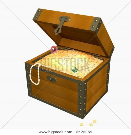 3D Wooden Box With Treasures