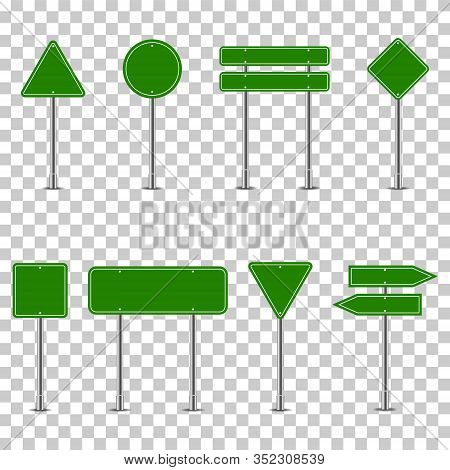 Set Of Green Traffic Signs On Transparent Background. Empty Road Signs. Road Panels Mockup For Way D