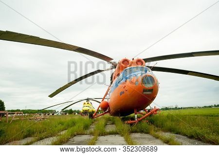Tyumen, Russia - June 19, 2019: Aircraft Repair Helicopter Utair Engineering Plant. Detail Of Mil Mi