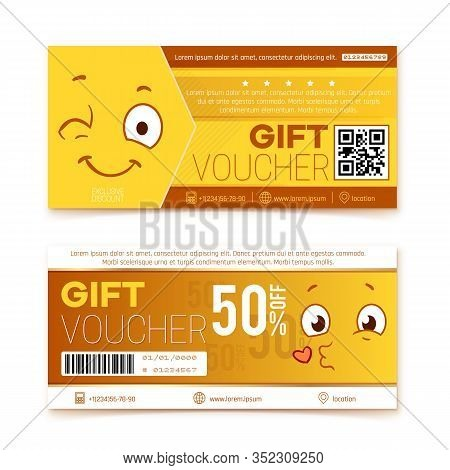 Gift Vouchers. Happy Smile Coupon, Promo Code Ticket. Shopping Discount Banner With Japan Style Face