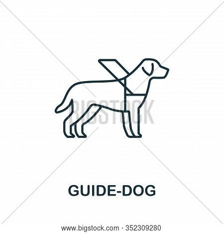 Guide-dog Icon. Simple Line Element Guide-dog Symbol For Templates, Web Design And Infographics