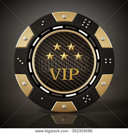 Casino Chip On Reflective Dark Background. 3d Illustration.