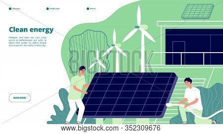 Renewable Power Energy. Smart Grid, Renewable Storage. Future Solar Electric System. Environmental B