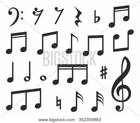 Music Notes. Musical Melody Black Note Icons. Modern Graphic Elements For Musicals, Instrumental Sco