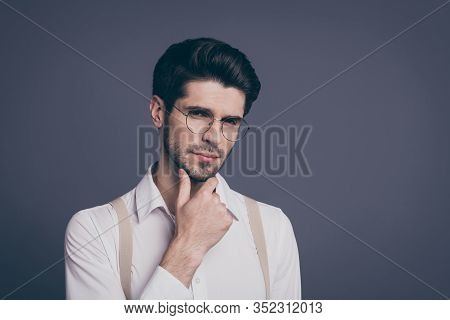 Close-up Portrait Of His He Nice Attractive Smart Clever Intellectual Focused Brunette Guy Realestat
