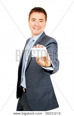 Confident Business Man Holding Blank Business Card