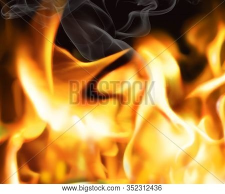 Close Up Blaze Fire Flame Background And Textured