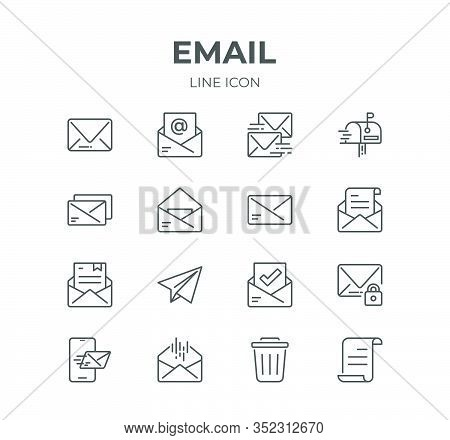 Simple Set Of Email Line Icons. Contain Such Icons As Envelope, Newsletter, Mailbox And More. Editab