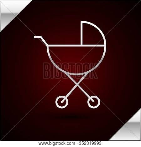 Silver Line Baby Stroller Icon Isolated On Dark Red Background. Baby Carriage, Buggy, Pram, Stroller