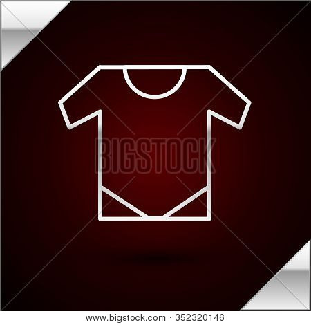 Silver Line Baby Onesie Icon Isolated On Dark Red Background. Baby Clothes Symbol. Kid Wear Sign. Ve