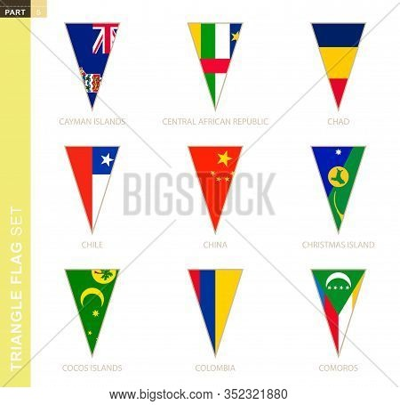 Triangle Flag Set, Stylized Country Flags Of Cayman Islands, Central African Republic, Chad, Chile,