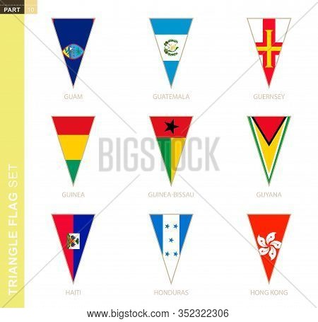 Triangle Flag Set, Stylized Country Flags Of Guam, Guatemala, Guernsey, Guinea, Guinea-bissau, Guyan