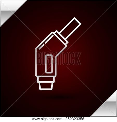 Silver Line Gasoline Pump Nozzle Icon Isolated On Dark Red Background. Fuel Pump Petrol Station. Ref