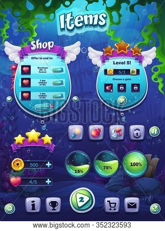 Fish Set Of Items Vector Illustration. Bright Background Image To Create Original Video Or Web Games