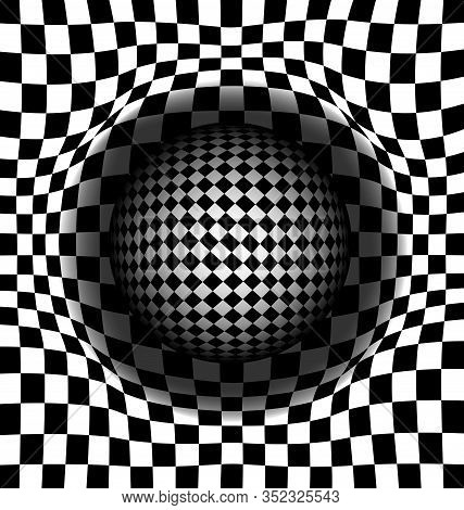 Vector Illustration Black And White Abstract Cells And Ball