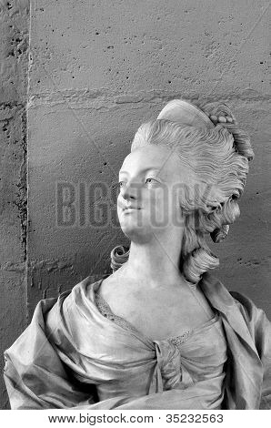 The marble bust of French queen Marie-Antoinette poster