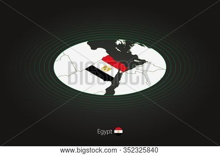 Egypt Map In Dark Color, Oval Map With Neighboring Countries. Vector Map And Flag Of Egypt