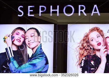 Szczecin, Poland. 6 October 2018. Sign Sephora. Company Signboard Sephora In Mall.