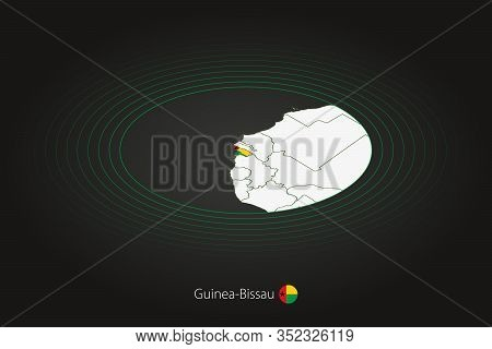 Guinea-bissau Map In Dark Color, Oval Map With Neighboring Countries. Vector Map And Flag Of Guinea-
