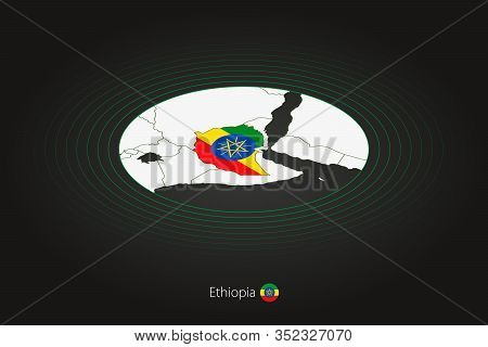 Ethiopia Map In Dark Color, Oval Map With Neighboring Countries. Vector Map And Flag Of Ethiopia