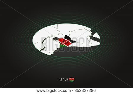 Kenya Map In Dark Color, Oval Map With Neighboring Countries. Vector Map And Flag Of Kenya