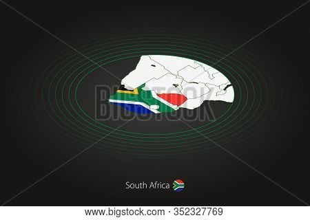 South Africa Map In Dark Color, Oval Map With Neighboring Countries. Vector Map And Flag Of South Af