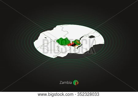 Zambia Map In Dark Color, Oval Map With Neighboring Countries. Vector Map And Flag Of Zambia