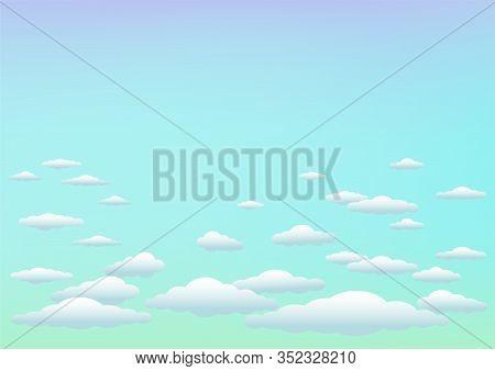 Blue Azure Sky Template Background. Cartoon Clouds On Color Nature Backdrop