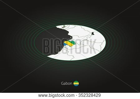 Gabon Map In Dark Color, Oval Map With Neighboring Countries. Vector Map And Flag Of Gabon