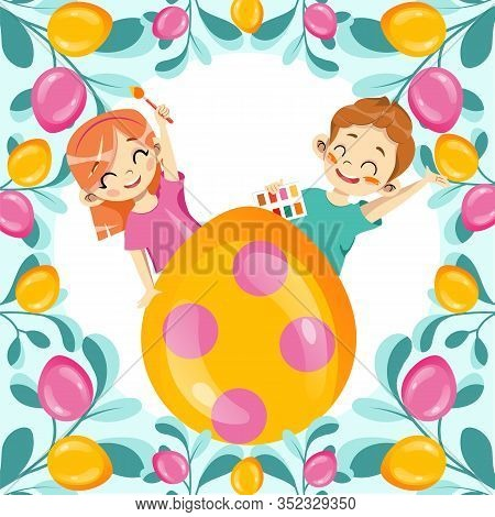 Template Of Happy Easter Postcard. Gold Glitter Paschal Egg With Easter Ornate And Happy Children. H