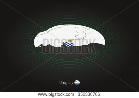 Uruguay Map In Dark Color, Oval Map With Neighboring Countries. Vector Map And Flag Of Uruguay