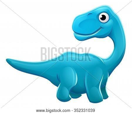 A Cute Cartoon Sauropod Diplodocus Apatosaurus Or Brontosaurus Dinosaur Character