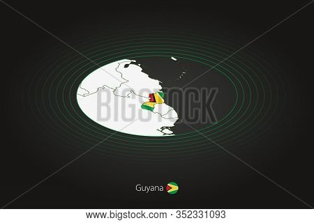 Guyana Map In Dark Color, Oval Map With Neighboring Countries. Vector Map And Flag Of Guyana