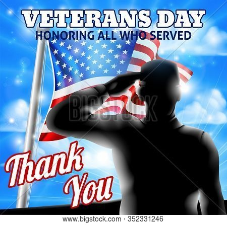 A Veterans Day Design Of A Silhouette Saluting Soldier And American Flag Waving On A Flagpole