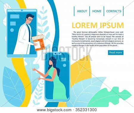 Online Drug Purchasing And Delivery Service. Flat Landing Page Offering Medications For Disease Trea