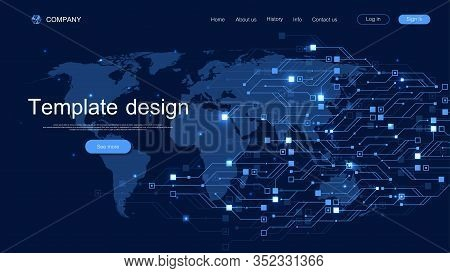 Landing Page Tech Background With Abstract Circuit Board Textures. Geometric Abstract Background Wit