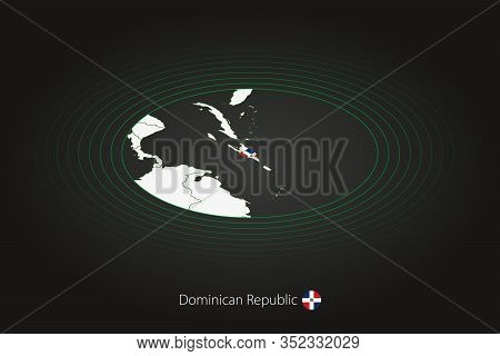 Dominican Republic Map In Dark Color, Oval Map With Neighboring Countries. Vector Map And Flag Of Do