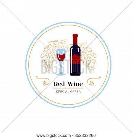 White Wine And Grape Line Icon, Wine Menu Logo. Winemaking, Tasting. Glass And Bottle Of White Wine,