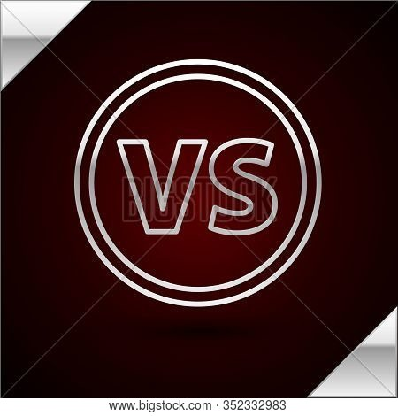 Silver Line Vs Versus Battle Icon Isolated On Dark Red Background. Competition Vs Match Game, Martia