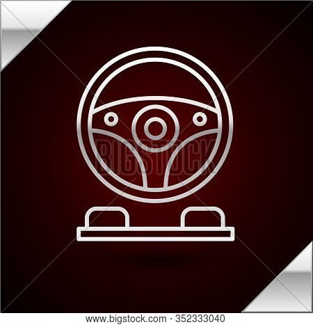 Silver Line Racing Simulator Cockpit Icon Isolated On Dark Red Background. Gaming Accessory. Gadget