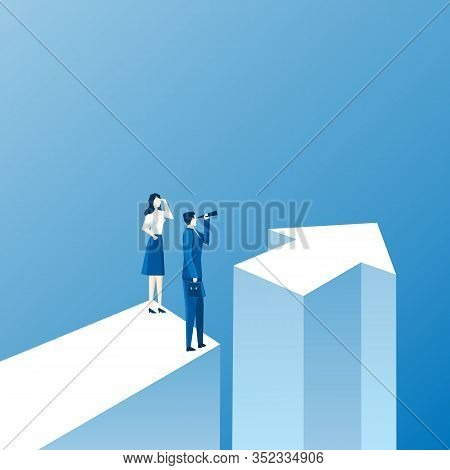 Man And Woman Standing Near Each Other Next To Direction Arrow. Male And Female Entrepreneurs Taking