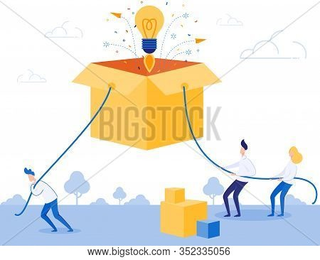 Business Team Work Hard On Idea Startup Metaphor. Two Men And Woman Pulling Cardboard Box By Rope. L