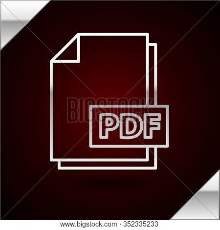 Silver Line Pdf File Document. Download Pdf Button Icon Isolated On Dark Red Background. Pdf File Sy