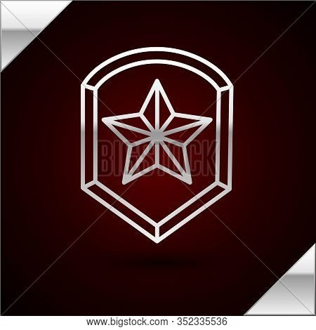 Silver Line Police Badge Icon Isolated On Dark Red Background. Sheriff Badge Sign. Shield With Star