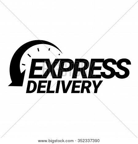 Express Delivery Icon. Black And White Emblem. Symbol Of Fast Mail Delivery. Easy-to-read Sign When