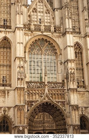 Vertical Close-up Picture Of Exterior And Main Gate To Cathedral Of Our Lady Antwerp. Huge Famous Ca