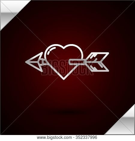 Silver Line Amour Symbol With Heart And Arrow Icon Isolated On Dark Red Background. Love Sign. Valen