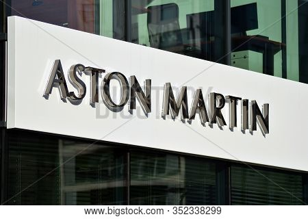 Warsaw, Poland. 2 November 2018. Sign Aston Martin. Company Signboard Aston Martin.