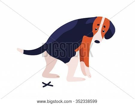 Short Haired Dog Beagle Breed During Shitting Vector Flat Illustration. Cute Spotted Colorful Doggy