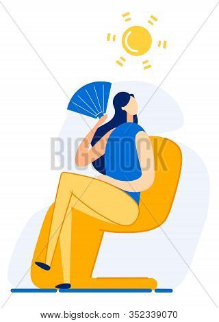 Bright Banner Summer Heat Overcomes Cartoon Flat. Ability To Reduce Anxiety And Stress During Holida